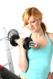 Sexy bolnde girl training in fitness Stock Image