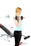 Sexy bolnde girl training in fitness Royalty Free Stock Photo
