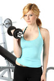 Sexy bolnde girl training in fitness Royalty Free Stock Image