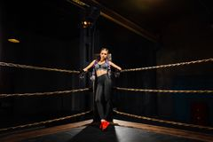Sexy boxing girl stands leaned on ropes of competition ring. Sexy boxing girl stands leaned on corner of competition ring. Fashionable portrait of luxurious Royalty Free Stock Photos