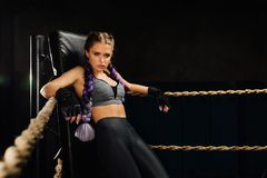Sexy boxing girl stands leaned on ropes of competition ring. Fashionable portrait of luxurious female model. Beautiful braiding kanekalon pigtails hairstyle Stock Photo