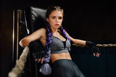 Sexy boxing girl stands leaned on ropes of competition ring. Fashionable portrait of luxurious female model. Beautiful braiding kanekalon pigtails hairstyle Stock Photos