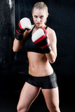 Sexy boxing training woman with gloves in gym Royalty Free Stock Images