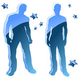 Sexy boy blue glossy silhouettes. With stars Stock Photo