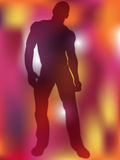 Sexy Boy Silhouette on Colorful Background Stock Image