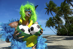 Sexy Brazilian Soccer Fan on Beach Stock Photography