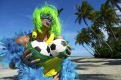 Sexy Brazilian Soccer Fan on Beach Stock Photography