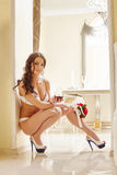 Sexy bride in lingerie posing with glass of wine Stock Image