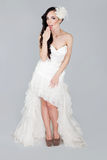 Sexy bride in white dress Royalty Free Stock Image