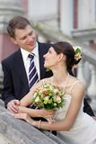 bride in white with groom Royalty Free Stock Image