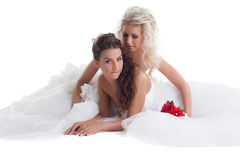 Sexy brides posing in pair, isolated on white Stock Photo