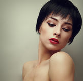 Sexy bright makeup woman with black short hair style Royalty Free Stock Photography