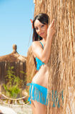 brown haired girl in a bikini near thatched bungalow royalty free stock image