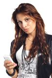 brunet woman calling by cell phone Royalty Free Stock Photography