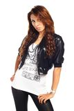 Sexy brunet woman posing in jacket isolated. Very sexy brunet woman posing in jacket isolated Stock Images