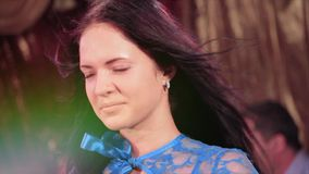 Brunette adolescence girl pose on stage. Adolescence brunette girl pose on stage stock video footage
