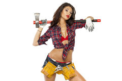 Sexy brunette with an ax in his hand Stock Images