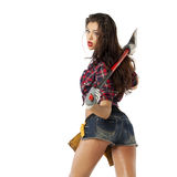 Sexy brunette with an ax in his hand Stock Photography