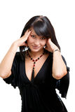 brunette with balck dress Royalty Free Stock Photos