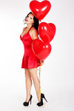 Sexy brunette with balloons heart Stock Photos