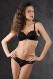 Sexy brunette black underwear Stock Photos