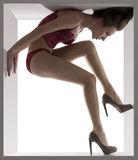 Sexy brunette in a box Stock Photo