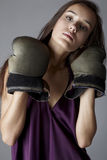 Sexy brunette in boxing gloves Stock Photos