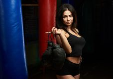 Sexy brunette with boxing gloves Royalty Free Stock Photos