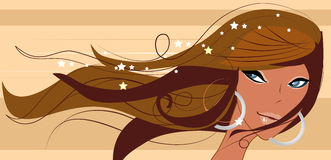 Sexy Brunette die headshot glimlacht Royalty-vrije Stock Afbeeldingen