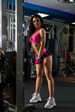 Sexy brunette exercising on a simulator in gym stock photo