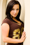 brunette football fan royalty free stock photos