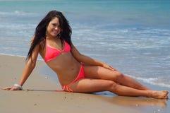 brunette girl on beach Stock Photo