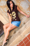 Brunette Girl in Short Mini Skirt Royalty Free Stock Photography