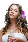 Sexy  brunette girl with SPA cosmetics Stock Photo
