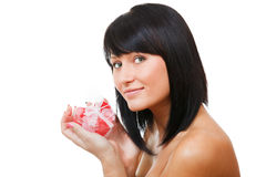 Sexy brunette holding gift-box Royalty Free Stock Images