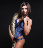 Sexy brunette holding python Royalty Free Stock Images