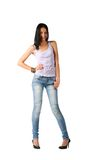 Sexy brunette in jeans Royalty Free Stock Images