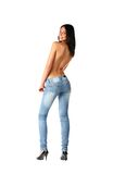Sexy brunette in jeans. Isolated on white background Stock Images