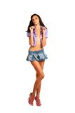 brunette in jeans skirt Royalty Free Stock Photos