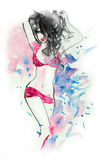 Sexy Brunette in Lingerie Watercolor Royalty Free Stock Photo