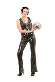 Sexy brunette with a mirror ball. In her hands Royalty Free Stock Photo