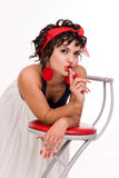 brunette pin up girl wearing white skirt and Royalty Free Stock Photos