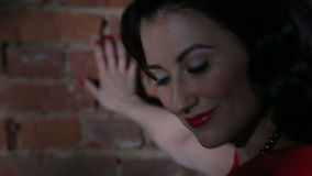 Sexy Brunette in Red Dress Flirting, Dancing and stock video footage