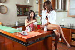 Sexy brunette roommates Stock Images