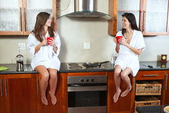Sexy brunette roommates Stock Image