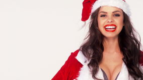 Sexy Brunette in Santa Claus Costume stock footage