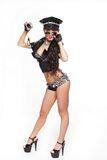 Sexy brunette semi nude police woman in glasses Royalty Free Stock Photo
