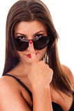 Sexy brunette with sunglasses Royalty Free Stock Images