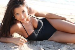 Sexy brunette in swimsuit Royalty Free Stock Images