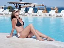 brunette tanning royalty free stock image